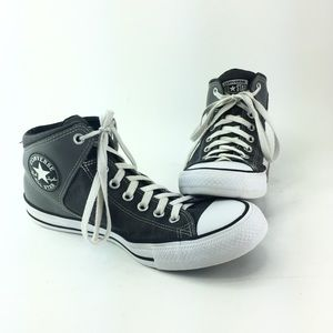 Converse Size 10 Mens Leather Shoes Black & Gray